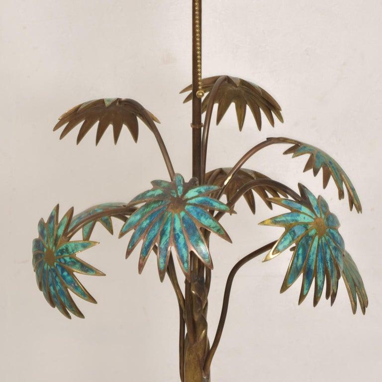Exquisite Pepe Mendoza Palm Tree Table Lamp in Bronze & Malachite, 1950s, Mexico For Sale 2