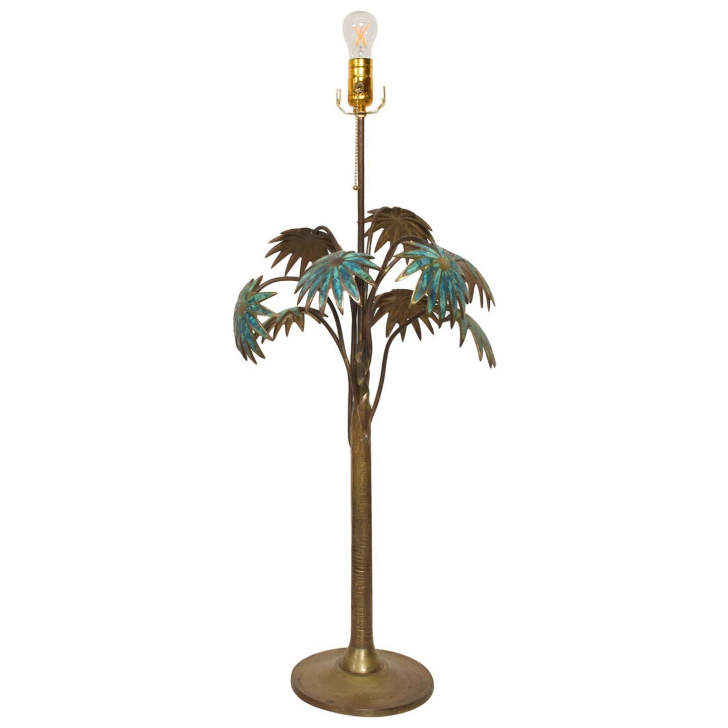 Exquisite Pepe Mendoza Palm Tree Table Lamp in Bronze & Malachite, 1950s, Mexico