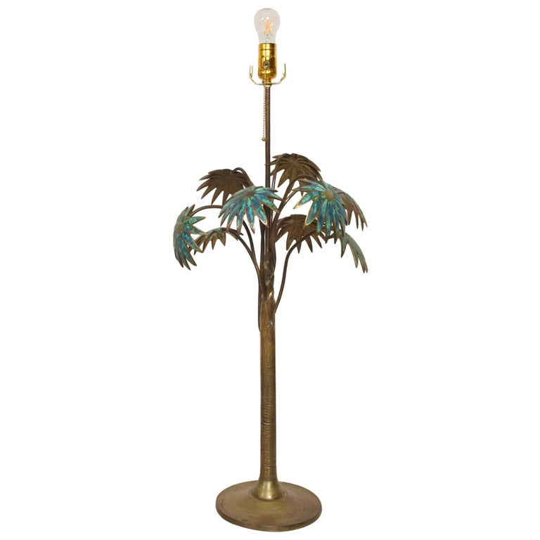 Exquisite Pepe Mendoza Palm Tree Table Lamp in Bronze & Malachite, 1950s, Mexico For Sale