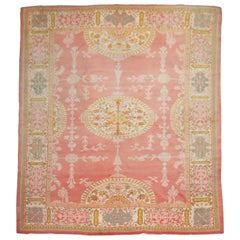Exquisite Pink Antique Room Size Oushak Carpet, Early 20th Century