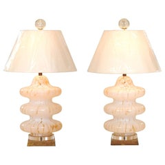 Exquisite Restored Amber Accent Blown Glass Pagoda Murano Lamps by Mazzega