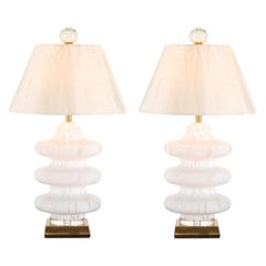 Exquisite Restored Blown Glass Three-Tired Pagoda Style Murano Lamps by Mazzega