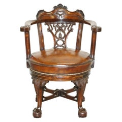 Exquisite Restored Thomas Chippendale Claw & Ball Brown Leather Swivel Armchair