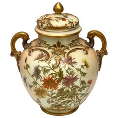 Exquisite Royal Worcester Pierced Covered Vase, with Floral Decoration, 1905