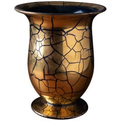 Exquisite Saint Prex Glass Vase in Blue Gilded Glass with a Gold Finish