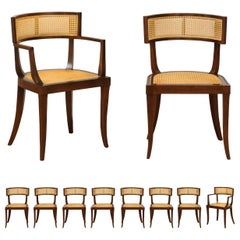 Exquisite Set of 10 Klismos Cane Dining Chairs by Baker, circa 1958, Cane Seats