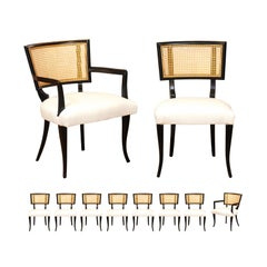 Exquisite Set of 10 Klismos Cane Dining Chairs in the Style of Billy Haines