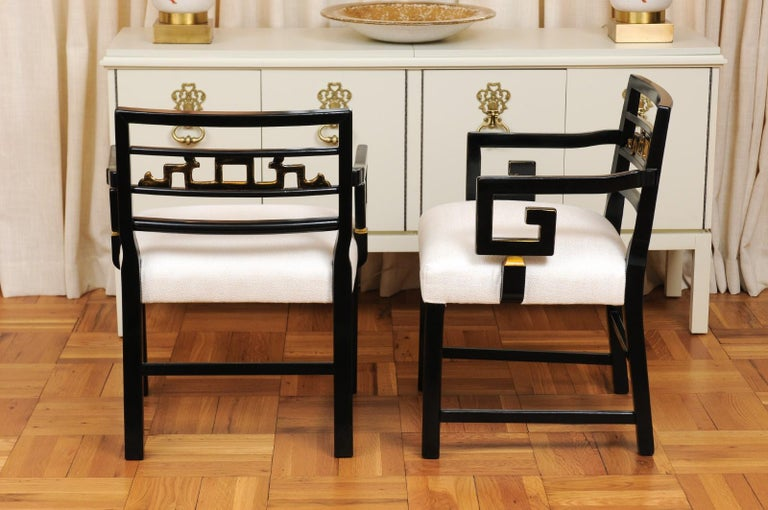 Exquisite Set of 12 Chinoiserie Greek Key Armchairs by Baker, circa 1960 For Sale 7