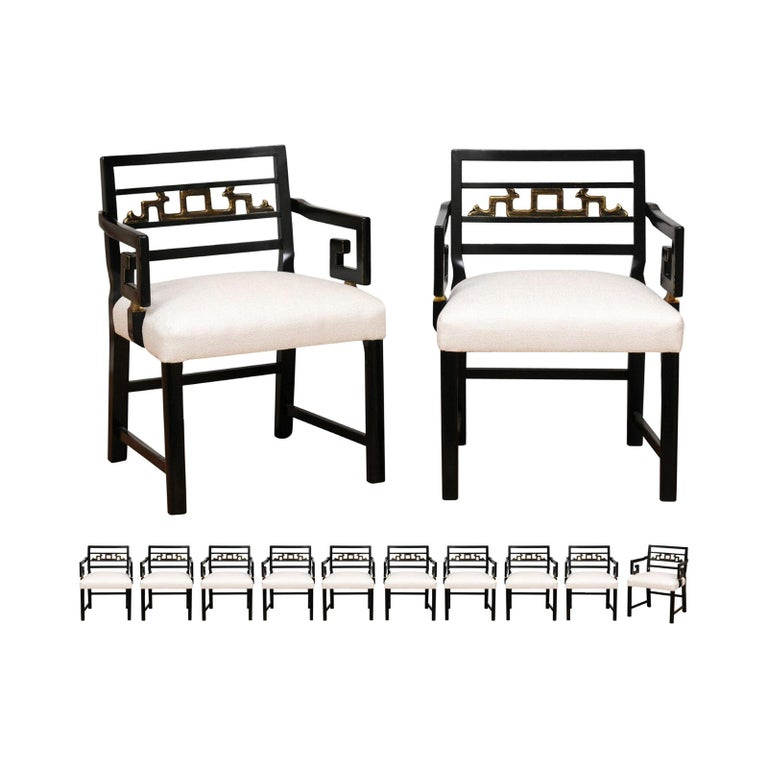 Exquisite Set of 12 Chinoiserie Greek Key Armchairs by Baker, circa 1960 For Sale