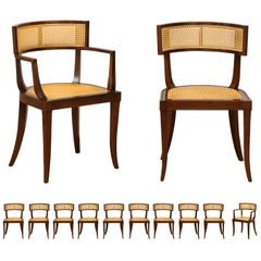 Exquisite Set of 12 Klismos Cane Dining Chairs by Baker, circa 1958, Cane Seats