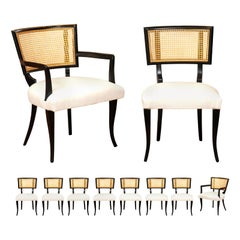 Exquisite Set of 12 Klismos Cane Dining Chairs in the Style of Billy Haines
