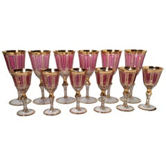 Exquisite Set of 12 Moser Wine Glasses, Circa 1915