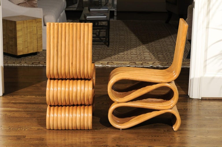 Exquisite Set of 12 Radiant Custom-Made Rattan Dining Chairs, circa 1995 For Sale 4
