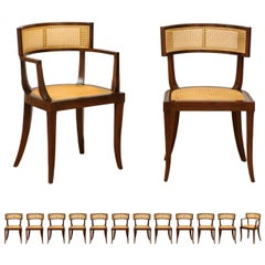 Exquisite Set of 14 Klismos Cane Dining Chairs by Baker, circa 1958, Cane Seats