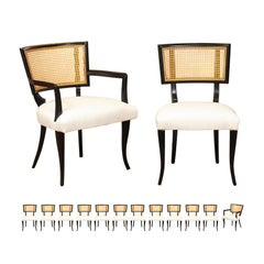 Exquisite Set of 14 Klismos Cane Dining Chairs in the Style of Billy Haines