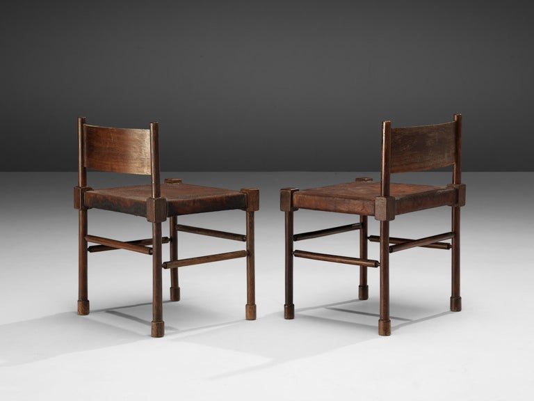 Exquisite Set of 4 Side Chairs in Original Patinated Leather and Stained Wood For Sale 4