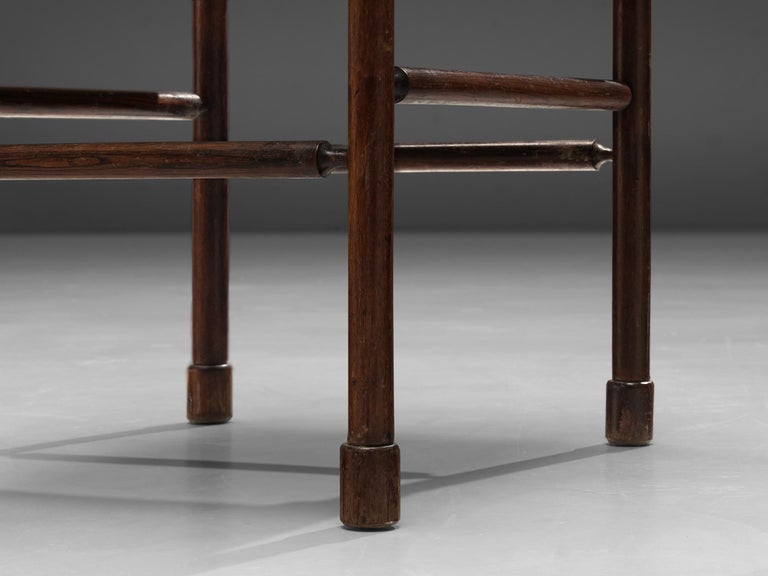 Exquisite Set of 4 Side Chairs in Original Patinated Leather and Stained Wood For Sale 6
