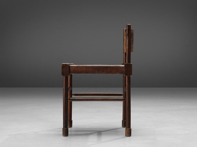 Exquisite Set of 4 Side Chairs in Original Patinated Leather and Stained Wood For Sale 7