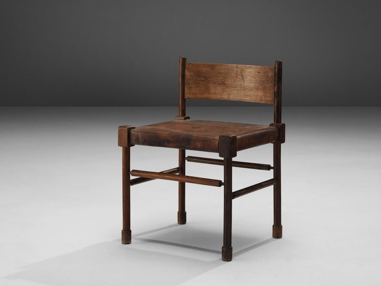 Exquisite Set of 4 Side Chairs in Original Patinated Leather and Stained Wood For Sale 8