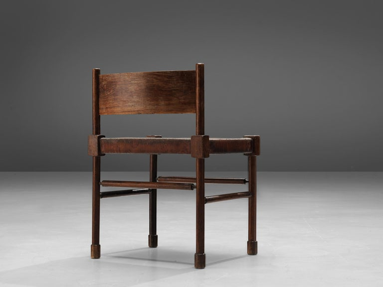 Exquisite Set of 4 Side Chairs in Original Patinated Leather and Stained Wood For Sale 9