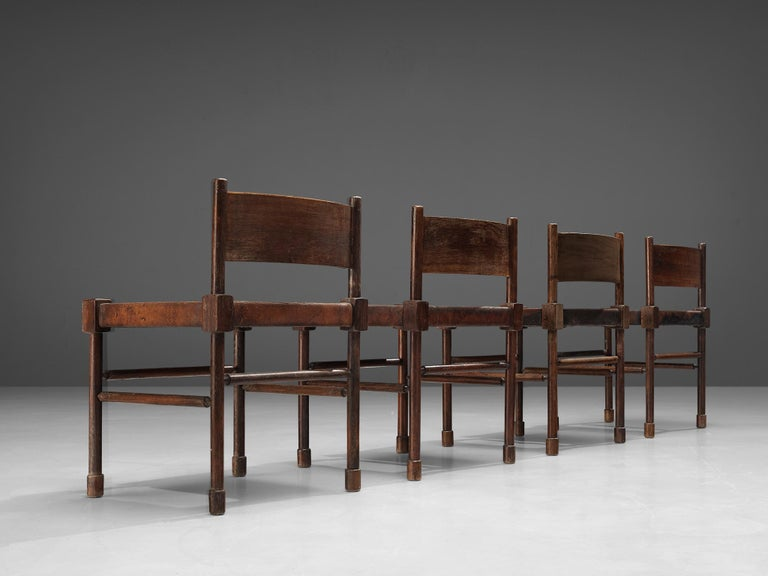 European Exquisite Set of 4 Side Chairs in Original Patinated Leather and Stained Wood For Sale