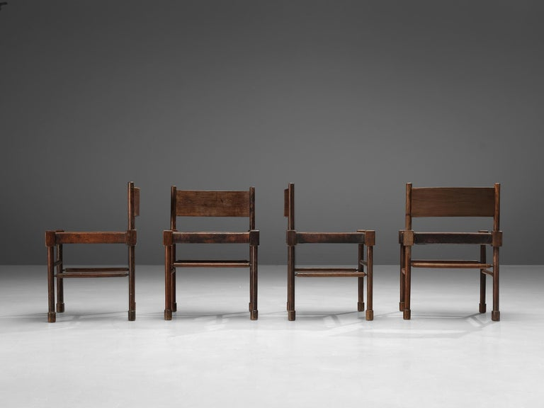 Mid-20th Century Exquisite Set of 4 Side Chairs in Original Patinated Leather and Stained Wood For Sale