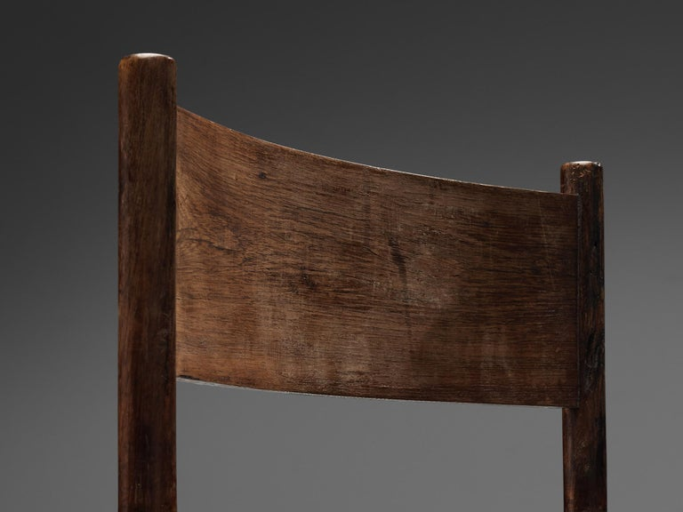 Exquisite Set of 4 Side Chairs in Original Patinated Leather and Stained Wood For Sale 3