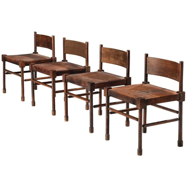 Exquisite Set of 4 Side Chairs in Original Patinated Leather and Stained Wood For Sale