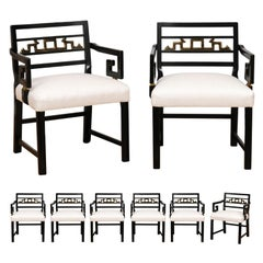 Exquisite Set of 8 Chinoiserie Greek Key Armchairs by Baker, circa 1960