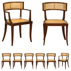 Exquisite Set of 8 Klismos Cane Dining Chairs by Baker, circa 1958, Cane Seats