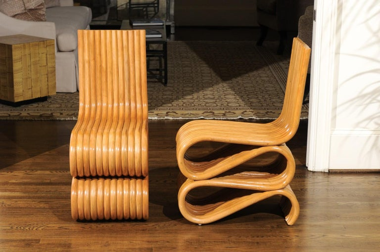 Exquisite Set of 8 Radiant Custom-Made Rattan Dining Chairs, circa 1995 For Sale 6