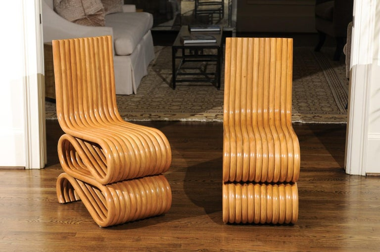 Mid-Century Modern Exquisite Set of 8 Radiant Custom-Made Rattan Dining Chairs, circa 1995 For Sale