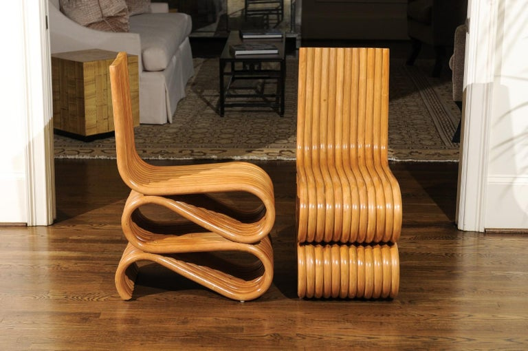 Exquisite Set of 8 Radiant Custom-Made Rattan Dining Chairs, circa 1995 In Excellent Condition For Sale In Atlanta, GA