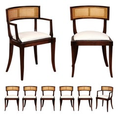 Exquisite Set of Eight 8 Klismos Cane Dining Chairs by Baker, circa 1958