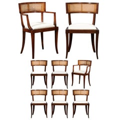 Exquisite Set of Eight Klismos Cane Dining Chairs by Baker, circa 1958