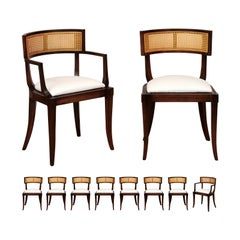 Exquisite Set of Ten 10 Klismos Cane Dining Chairs by Baker, circa 1958