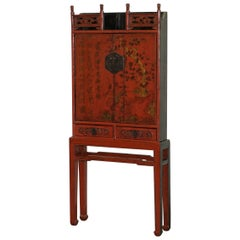 Exquisite Shanxi Province 18th Centuyr Chinese Red Lacquer Cabinet on Stand