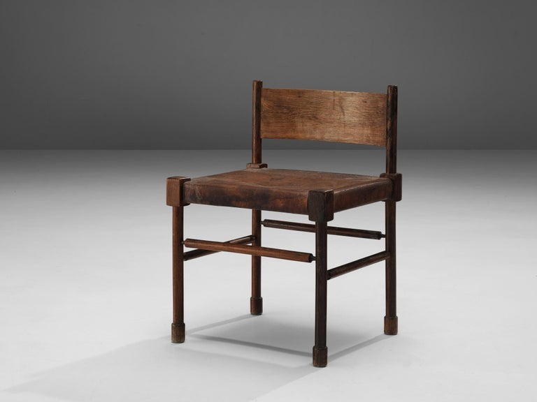 European Exquisite Side Chair in Original Patinated Leather and Stained Wood For Sale