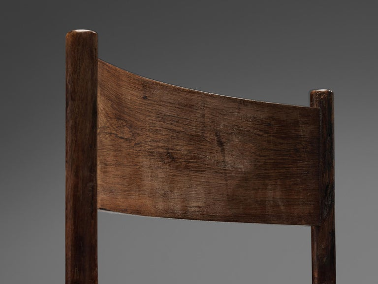 Exquisite Side Chair in Original Patinated Leather and Stained Wood In Good Condition For Sale In Waalwijk, NL