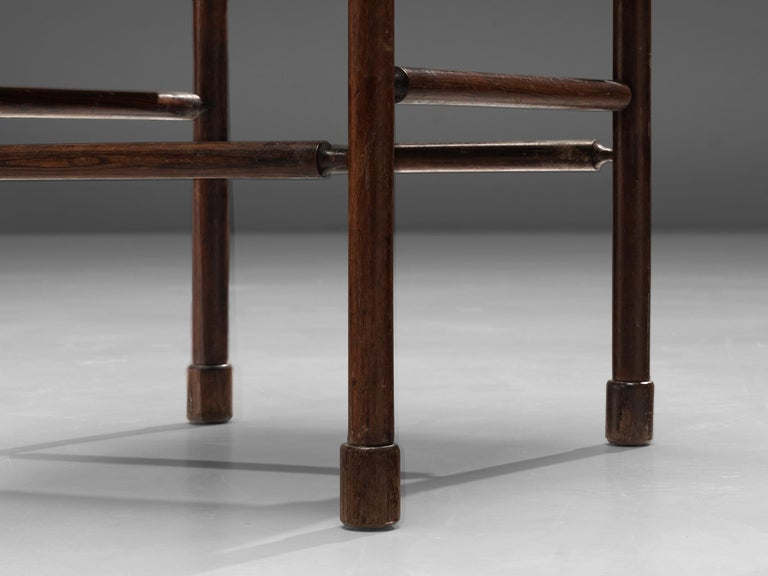 Exquisite Side Chair in Original Patinated Leather and Stained Wood For Sale 2