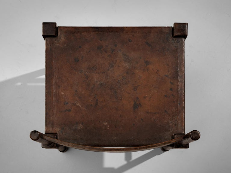 Exquisite Side Chair in Original Patinated Leather and Stained Wood For Sale 3