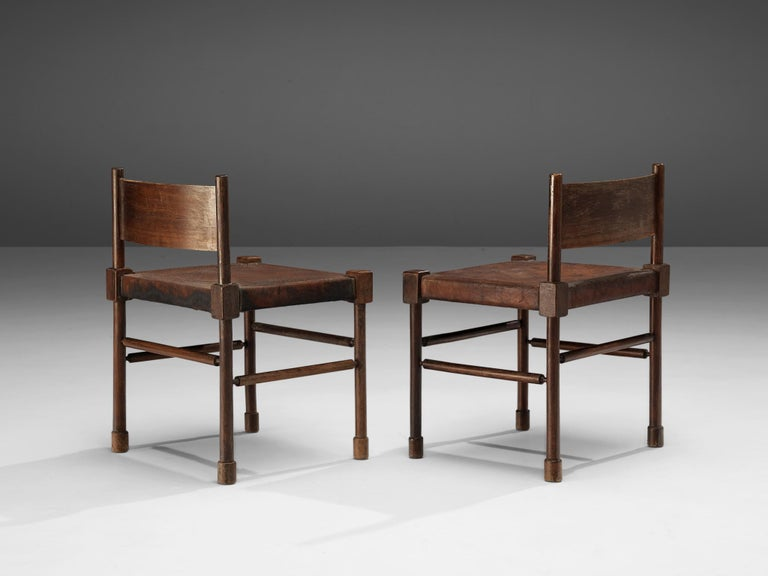 European Exquisite Side Chairs in Original Patinated Leather and Stained Wood For Sale