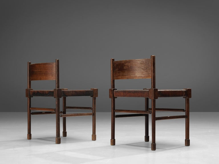 Mid-20th Century Exquisite Side Chairs in Original Patinated Leather and Stained Wood For Sale