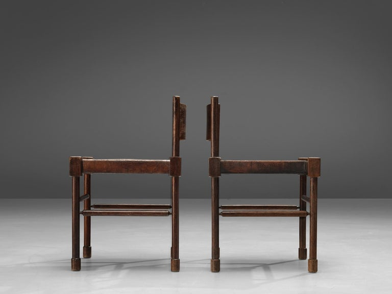 Exquisite Side Chairs in Original Patinated Leather and Stained Wood For Sale 2