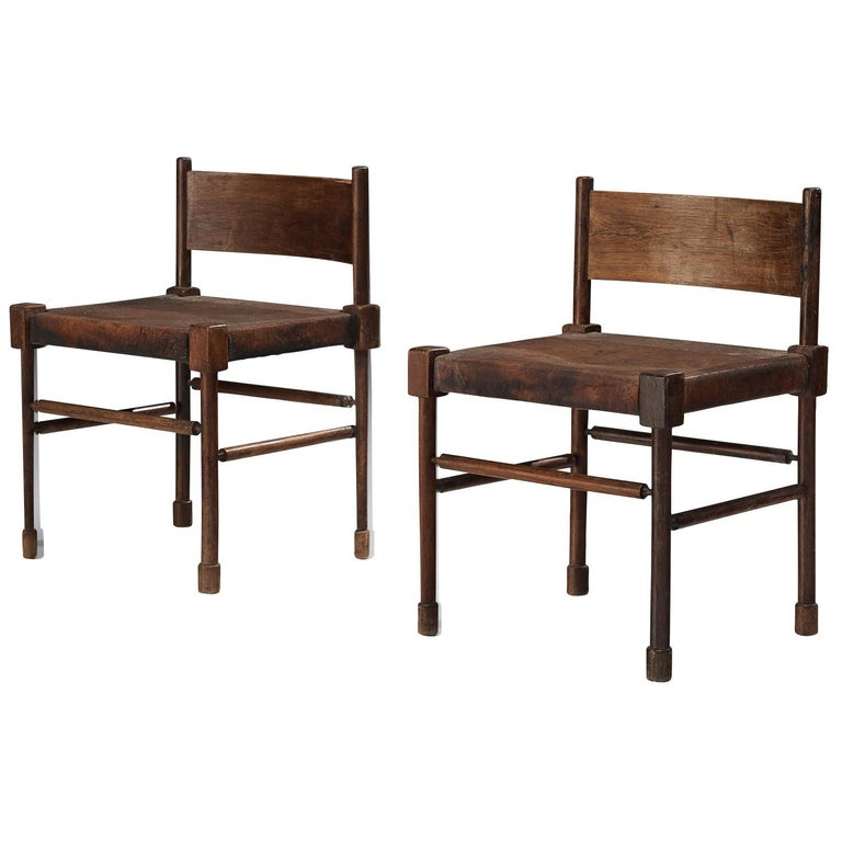 Exquisite Side Chairs in Original Patinated Leather and Stained Wood For Sale