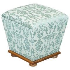 Exquisite Silk Upholstered Victorian Style Ottoman Stool Footstool with Storage