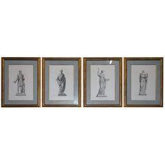 Exquisite Suite of Four 1800 Bouillon Copper Plate Engraved Roman Statue Prints