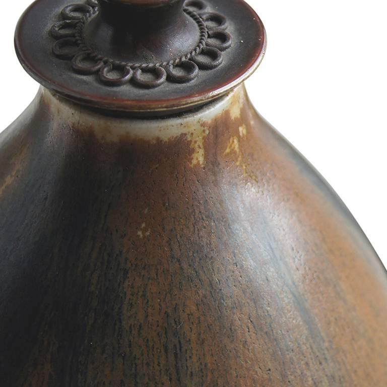 Arts and Crafts Table Lamp with Cognac-Charcoal Glazing by Patrick Nordström For Sale
