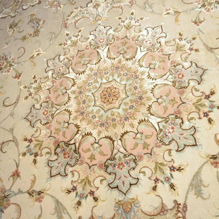Hand-Knotted Exquisite Tabriz Persian Rug Kurkwool and Silk For Sale
