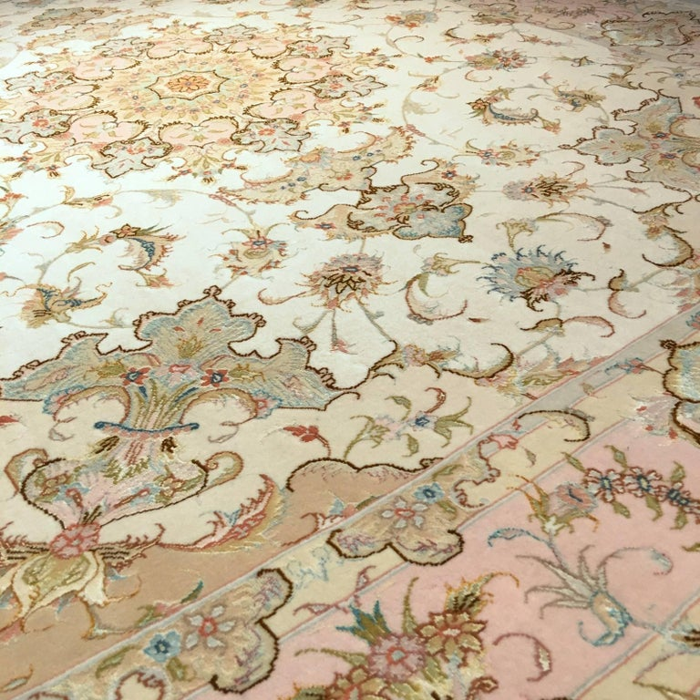 Wool Exquisite Tabriz Persian Rug Kurkwool and Silk For Sale